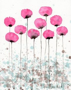 Buy 2 Get 1 FREE -- Watercolor Painting: Watercolor Flowers -- Art Print --  Flutter -- Pink Flowers -- 8x10