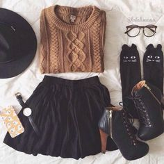 Nice Winter Outfits Eyelash lace crop top with a black skater skirt... Check more at