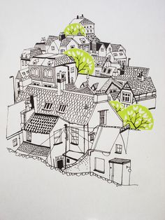 Trees and houses illustration