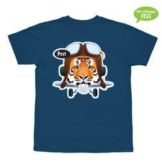Tiger-flyvemaskine  T-shirt i str. 2-6 år
