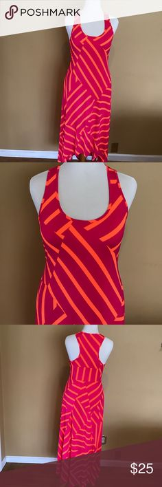"Vibrant Colored Hi-Lo Maxi Dress Bright and flirty hi--low racer back dress. Has stretch to it. From shoulder to hem length ranges from 43"" at the shortest point to 52"" at the longest point. The bright orange and hot pink make this a perfect summer dress. Dresses High Low"