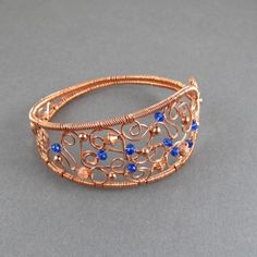 Copper Woven Chaos Cuff Bracelet With Cobalt Blue Crystal Accents