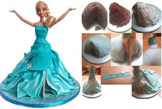 Elsa cake tutorial (frozen) Cake Decorating Techniques, Cake Decorating Tutorials, Doll Cake Tutorial, Elsa Frozen, Elsa Torte, Elsa Doll Cake, Elsa Cakes, Frozen Themed Birthday Party, Barbie Cake