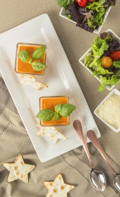 Serve your favorite creamy tomato soup recipe in shot glasses, and garnish with basil. This special presentation will make your meal feel special and expensive! Inspired by the movie Burnt in select theaters October 23 and everywhere October 30!