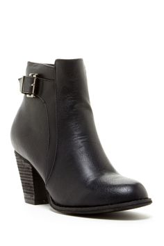 """Galla Buckle Bootie in black by Bucco $70 - ($32) ($34) ($26) ($24) ($21) $30 @HauteLook. - Almond toe - Side zip closure - Side buckle - Stacked heel - Approx. 4"""" shaft height, 9"""" opening circumference - Approx. 2.75"""" heel - Manmade upper and sole"""