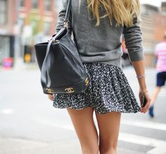Grey sweater and skater skirt