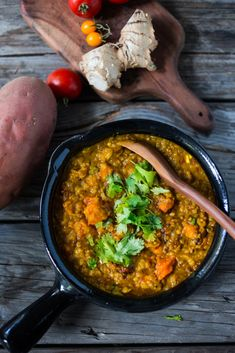 "Soulful, comforting Sweet Potato & Lentil Dal topped with a flavorful ""tempering oil"". A quick 30 minute vegan meal that is simple to make and full of fragrant Indian spices. PLUS 15 Cozy Fall dinners that are all vegetarian! Vegan Dinner Recipes, Vegetarian Recipes Dinner, Vegan Dinners, Indian Food Recipes, Whole Food Recipes, Healthy Recipes, Healthy Meals, Delicious Recipes, Weeknight Recipes"