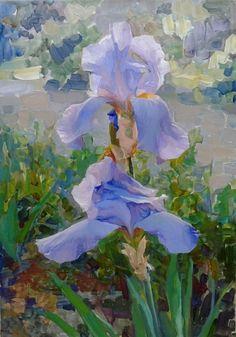 For love of art: Gelena Pavlenko Iris Painting, Oil Painting Flowers, Garden Painting, Abstract Flowers, Watercolor Paintings, Art Floral, Iris Drawing, Iris Art, Art Folder