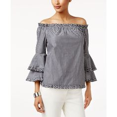 1469f3b526e4 Eci Ruffled Off-The-Shoulder Top ( 60) ❤ liked on Polyvore featuring