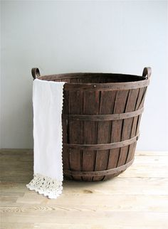 Vintage Tall Wooden Basket Farmhouse