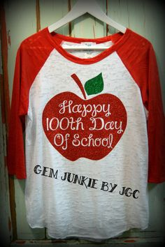 Get ready for the 100th Day of School with this beauty of a gem! Choose red, green or black sleeves at checkout. *3/4 sleeve, burnout style