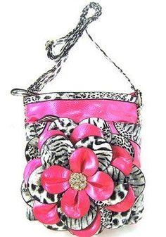 3d Raised Flower Zebra Leopard Animal Print Hipster Cross Body Messenger Purse Pink: Price: $32.99