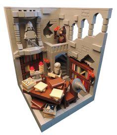 LEGO Lord of the Rings - The Isildur's Account Statue and shelf inset Lego Burg, Lego Table Ikea, Lego Ritter, Lego Robot, Lego Moc, Lego Army, Amazing Lego Creations, Lego Modular, Lego Worlds