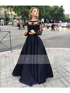 Long Sleeve See Through A-Line Bateau Taffeta Black Prom Dress #blackdress #prom #longsleeve