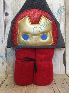 """Stack Stack Iron Hero Applique Hooded Bath, Beach Towel Cover Up 30"""" x 54""""  Personalization Available by MommysCraftCreations on Etsy"""