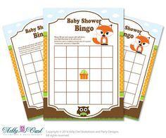 Brown Orange Fox Owl Bingo Game Printable Card for Baby Boy Shower DIY grey, Brown Orange Forest - ONLY digital file - ao44bs 3