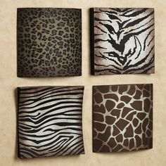Safari Animal Prints Metal Wall Plaque Set