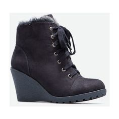 Justfab Booties Ananya ($40) ❤ liked on Polyvore featuring shoes, boots, ankle booties, black, black ankle booties, black platform boots, black ankle bootie, platform wedge booties and black wedge bootie