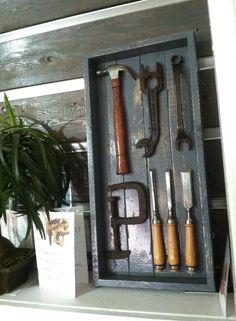 vintage tool display, tool shadow box, shadow box with tools, art of the tool, tool art, antique tools, art using tools, tools in a box, old box of tools