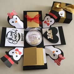 """Buy Penguin explosion Box With Xmas Shaker , 4 waterfall and pull tab in Singapore,Singapore. ----------- Info ------------- Reg mail $5.00 Collection yew tee Mrt Monday 7:30pm Wed 8pm Size: 4x4"""" Explosion box card with 2 layers, - 2 tags with 2 Chat to Buy"""
