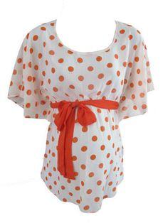 Orange Dot Chiffon Top by Sassy Maternity - Maternity Clothing - Flybelly Maternity Clothing