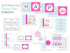 Girls Retro Surf Printable Party Collection- As seen on Giggles Galore. $25.00, via Etsy.