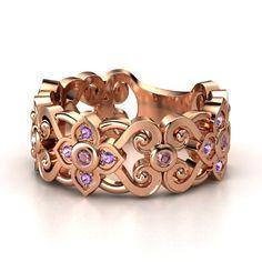 14K Rose Gold Ring with Rhodolite Garnet & Amethyst - lay_down