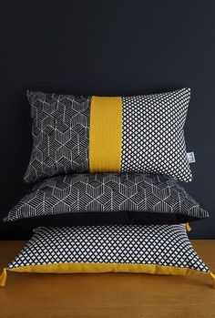 Image of Coussin Trio Black Mustard Sewing Pillows, Diy Pillows, Cushions On Sofa, Decorative Pillows, Cushion Covers, Pillow Covers, African Home Decor, Quilted Pillow, Scatter Cushions