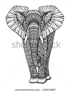 Zentangle animal. Stylized fantasy patterned elephant. Hand drawn  illustration with traditional oriental floral elements  isolated on white background.