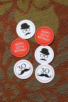 Mustache Party Circles - PRINTABLE