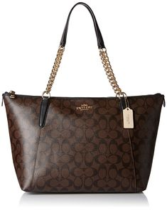 Coach Women's Ava Chain Tote, Black Brown. Color/material: brown and black signature coated canvas. Interior design details: fabric lining, zippered, cell phone, and multifunction pockets. Measures 16.75in wide x 9.75in high x 5in deep. Handles drop 9in. Zippered top.