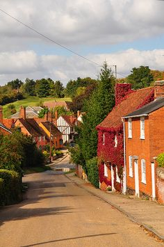 The view down to 'The Splash', Kersey, Suffolk, England, United Kingdom, 2009, photograph by Alastair Taylor.