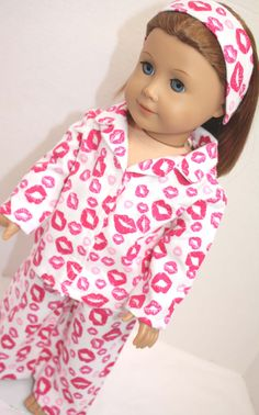 American Girl Doll Clothes - Valentine's Day Print Flannel Pajamas