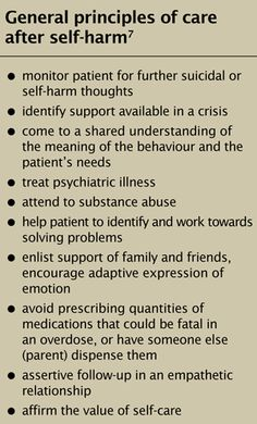 General principles of  care after self harm
