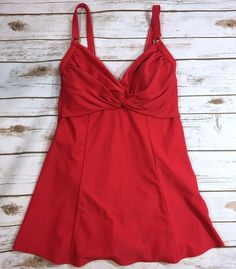 Carol Wior Womens One Piece Skirted Swimsuit Size 16 Bright Red  | eBay