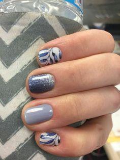 Bluish gray nail art.