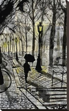 Walking in Montmartre Stretched Canvas Print by Loui Jover - AllPosters.co.uk