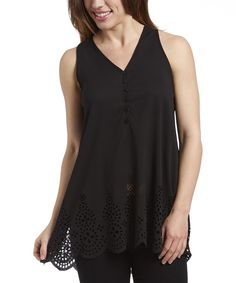 Look at this Simply Irresistible Black Eyelet Tie-Back Tank on #zulily today!