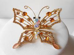 Rhinestone Brooch Vintage Jewelry Butterfly by LittleBitsofGlamour