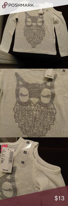 Owl print blouse [Children's Place] NWT White long sleeve top with openings on the upper arms... Silver metallic owl print...cute! *shirt can be worn under if you want to close shoulder openings* [4 XS] The Children's Place Shirts & Tops Tees - Long Sleeve