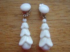 Vintage White Milk Glass Earrings. $25.00, via Etsy.
