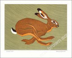 Hurry hare greetings card reproduced from a linocut illustration of a hare running at speed by Robert Gillmor Jack Rabbit, Rabbit Art, Hare Illustration, Latex, Linoprint, Bunny Art, Wildlife Art, Printmaking, Illustrators