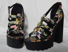 8b061901a1a4 Woman size 10 Multi-Color Flowers Platform Sandal By N.Y.L.A  fashion   clothing