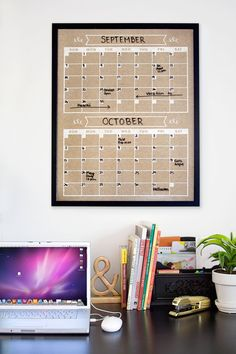 PLEASE READ ENTIRE LISTING BEFORE ORDERING, THANK YOU!    Frame is not included.    Print by itself is not dry erase. To make the calendar dry erase