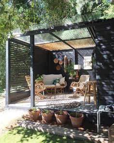 Sunshine in the Cocktail Lounge! ☀️❤️🍸🌿👌🏻 Can't wait to spend hours just hanging out in this space at the top of our garden soaking up the… Small Backyard Patio, Backyard Patio Designs, Pergola Designs, Backyard Landscaping, Backyard Pools, Outdoor Rooms, Outdoor Decor, Outdoor Living, Small Outdoor Spaces