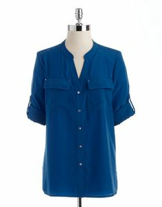 Women's Apparel | Blouses  Button Downs | Petite Split-V Neck Button-Down Blouse | Lord and Taylor