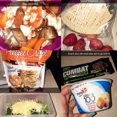 If you don't follow my #snapchat you're missing out on my food posts!! Bshaefit username - Egg scramble - egg whites with turkey burger, peppers, mushrooms, cheese, buffalo sauce plus a Joseph's pita, strawberries ----- Lunch is ground beef, broccoli, cheese, and buffalo pretzels ---- Snack is Greek yogurt and a combat bar plus something when I get home from work ☺️ this is for my drive home. It's rest day today. --- #teambshaefit #flexibledieting #iifymgirls #iifym #iifymwomen #macros