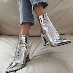 Booties//Chrome Booties//Fall Booties
