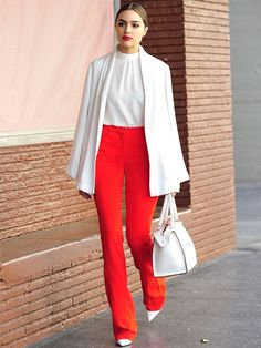 Awesome Olivia Culpo Fashion Style and Outfits You Can Copy NOW! Sexy Business Attire, Business Outfit Damen, Red Trousers Outfit, Trouser Outfits, Olivia Culpo, Olivia Palermo, Sexy Work Outfit, Work Fashion, Fashion Outfits