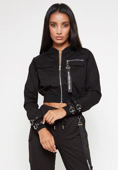 buckle-detail-cargo-bomber-jacket-black - buckle-detail-cargo-bomber-jacket-black Source by cmichelleaboagye - Sporty Outfits, Swag Outfits, Grunge Outfits, Classy Outfits, Cool Outfits, Cargo Jacket, Black Bomber Jacket, Teen Fashion, Fashion Outfits